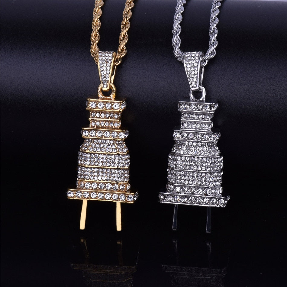 Men's Iced Out Plug Pendant Necklace