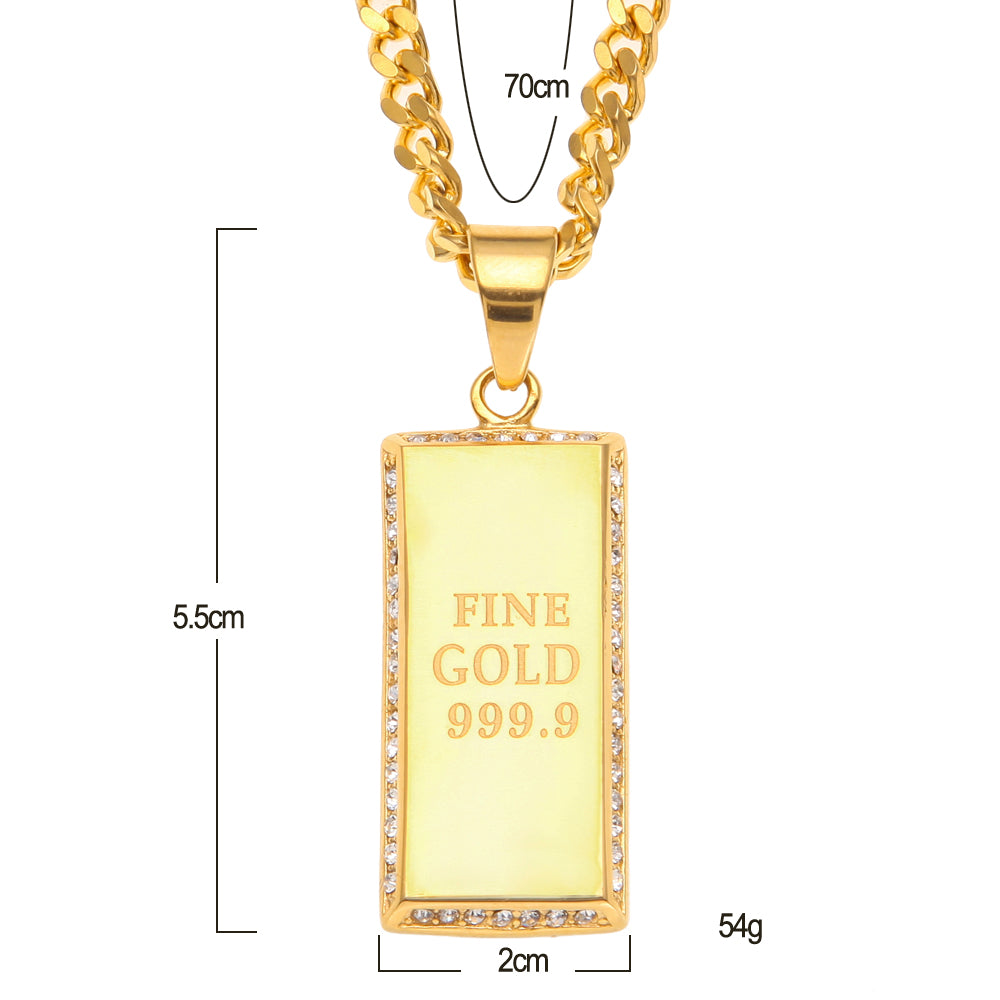 Gold 999.9 Tag Gold Brick Pendant With Iced Out Rhinestones Necklace
