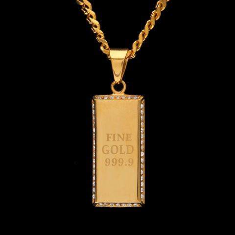 Image of Gold 999.9 Tag Gold Brick Pendant With Iced Out Rhinestones Necklace