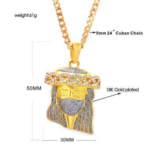 Image of Gold Jesus Face Pendant Necklace with Cuban Chain