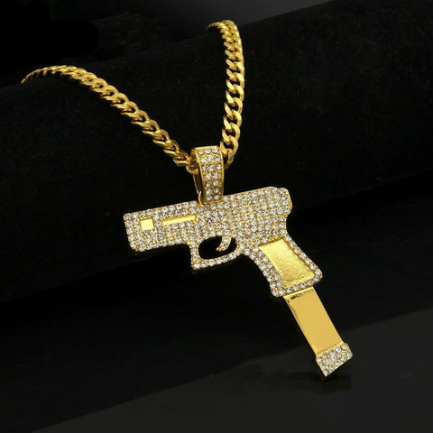 Image of Rhinestone Submachine Gun Pendant Chain