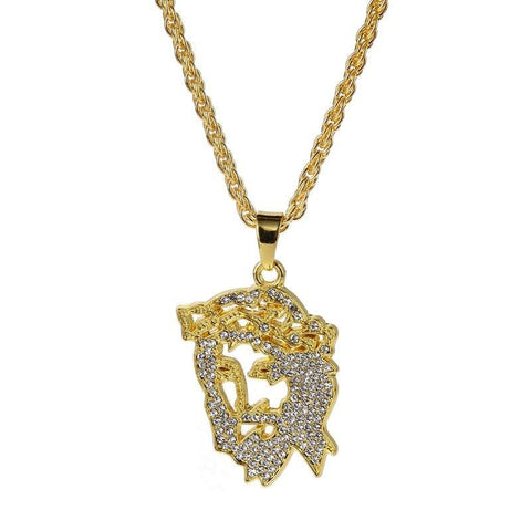 Image of Gold Jesus Face Chain For Mens (Free)