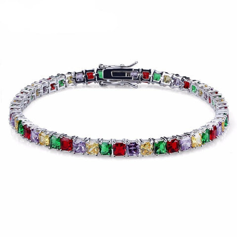 Image of Hip Hop Iced Out Colorful Tennis Chain Bracelet