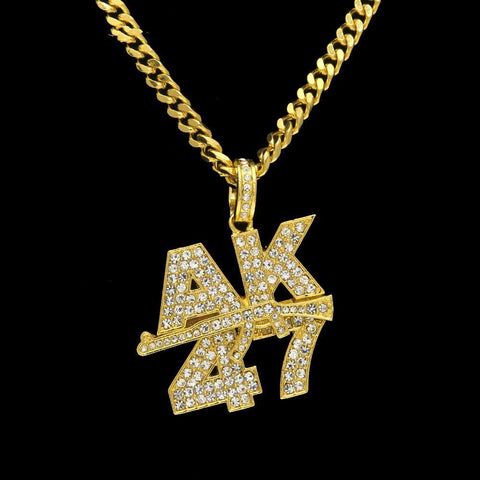 Image of AK47 Submachine Gun Rhinestone Chain Gold / Silver