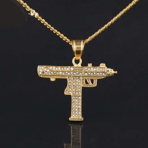 Gold Iced Out Rhinestone Gun Pendant