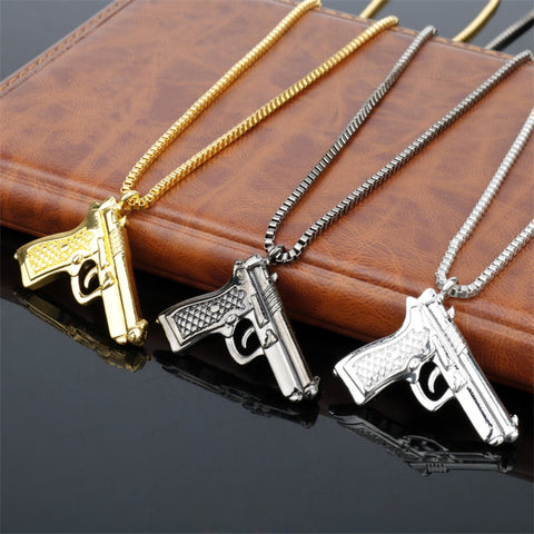 Image of Pistol Pendants Necklaces Men Hip Hop Chain