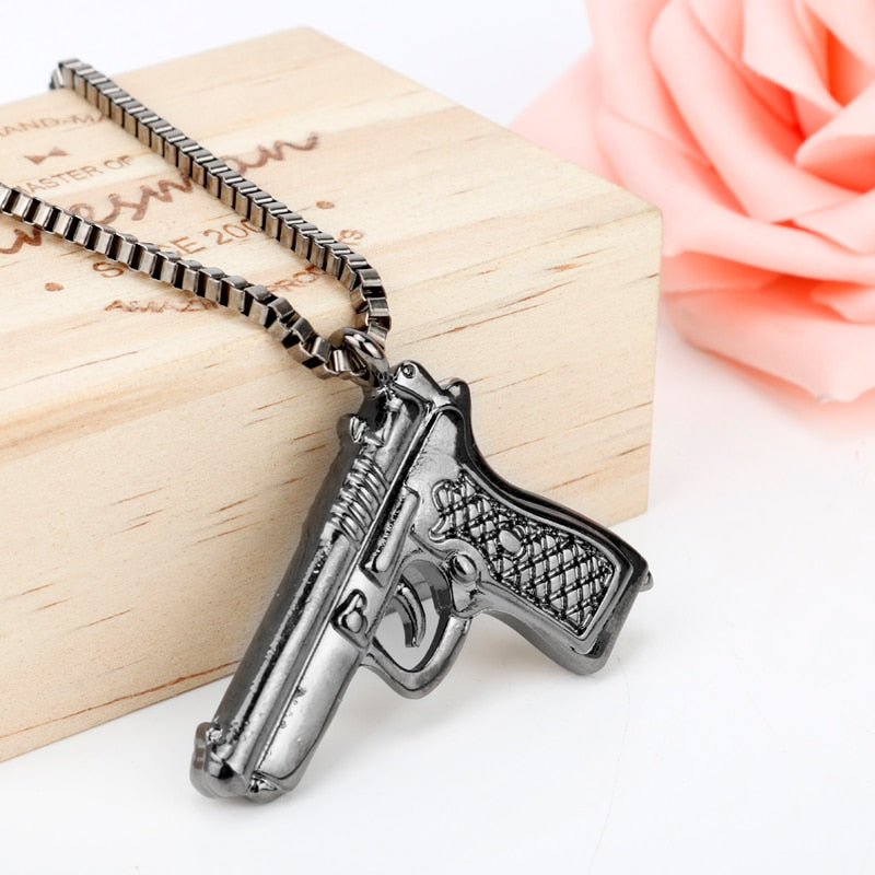 Pistol Pendants Necklaces Men Hip Hop Chain