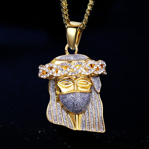 Gold Jesus Face Pendant Necklace with Cuban Chain