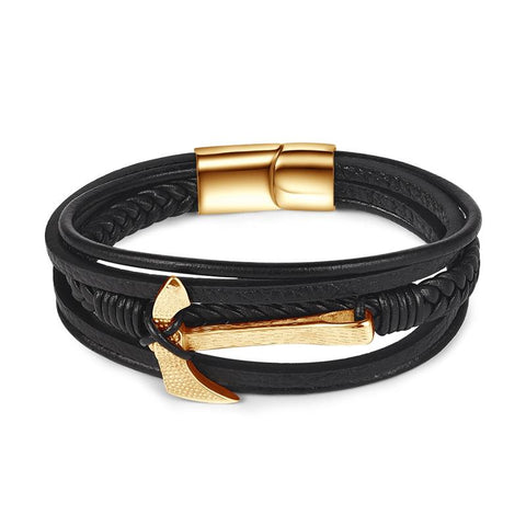 Axe Bracelet Gold Genuine Black Leather