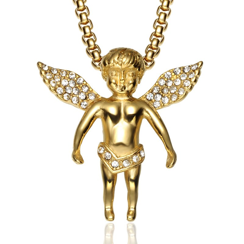 Cupid Angel Pendant Iced Out Crystal Necklace