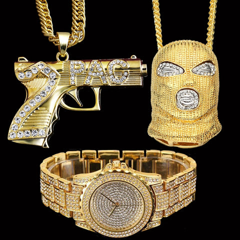 Image of Iced Out Goon, AK47 Pendants & Lab CZ Crystal Watch Combo