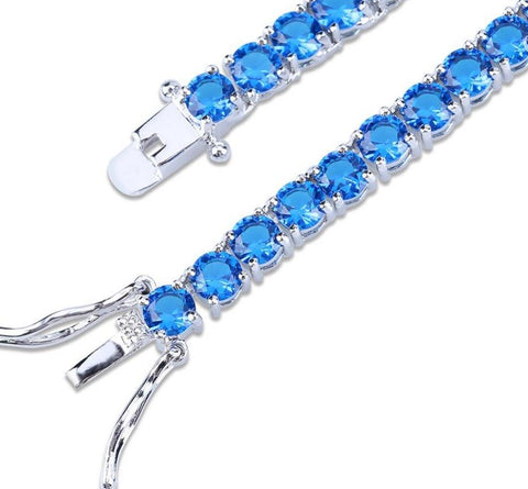 4mm Micro Paved CZ Tennis Link Chain (Red, Blue)