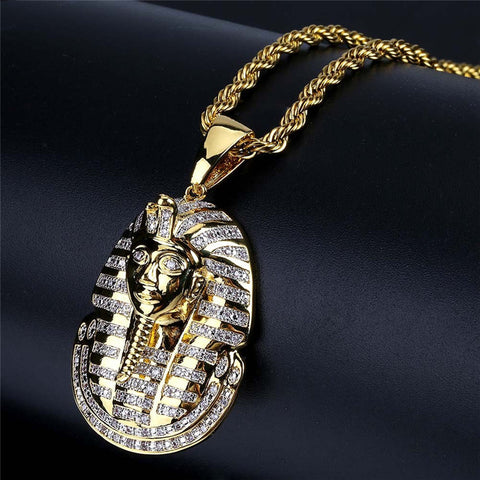 Image of Hip Hop Iced Out Egyptian Pharaoh Zircon Pendant Necklace