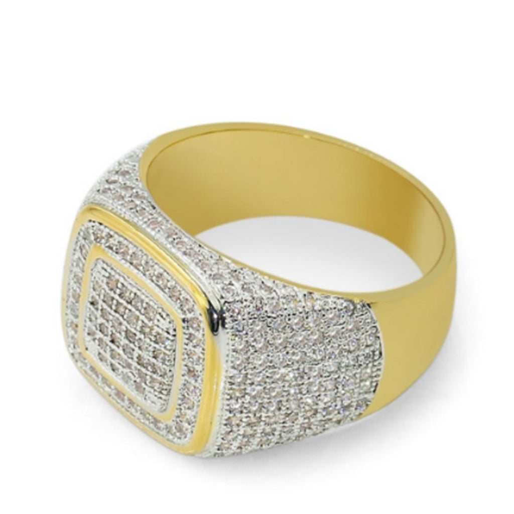 Micro Pave Rhinestone Iced Out Square Ring (Free)