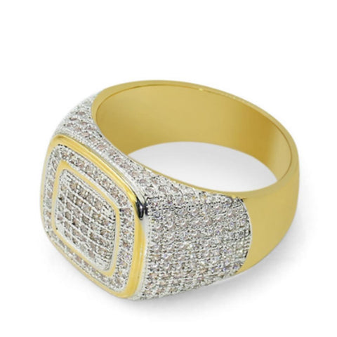 Image of Micro Pave Rhinestone Iced Out Square Ring (Free)