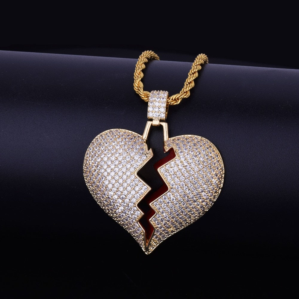 Iced Out Broken Heart Pendant With Tennis Chain