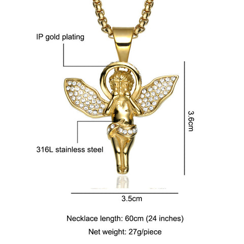 Image of Cupid Angel Pendant Iced Out Crystal Necklace