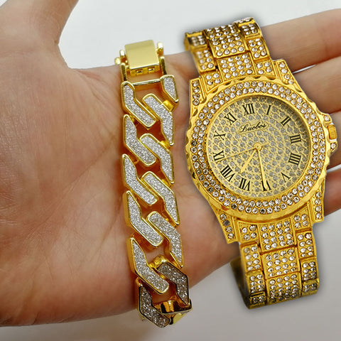 Image of Iced Out Lab CZ Crystal Bling Watch Glitter Bracelet