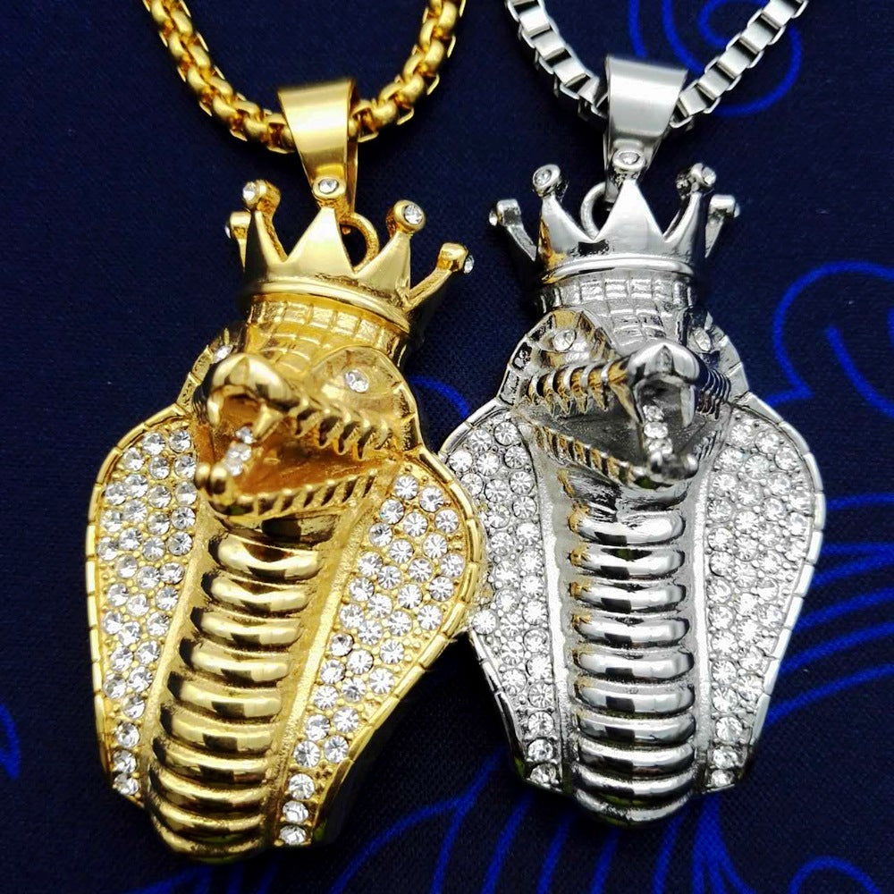 Iced Out Big Cobra Snake Pendant Necklace