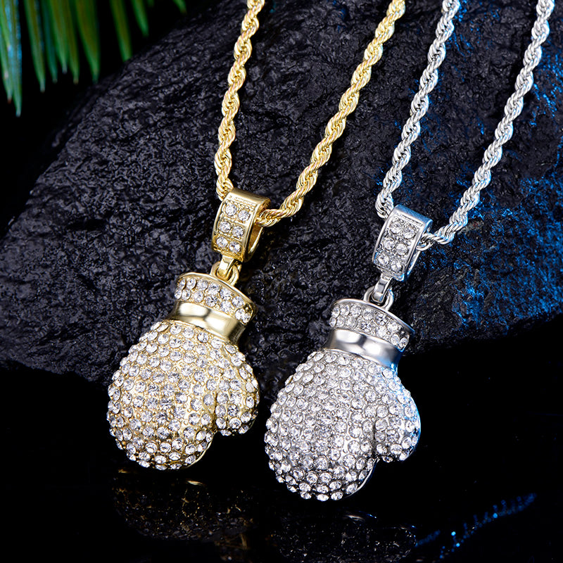 Boxing Glove Pendant CZ Iced Out Hiphop Necklace (Free)