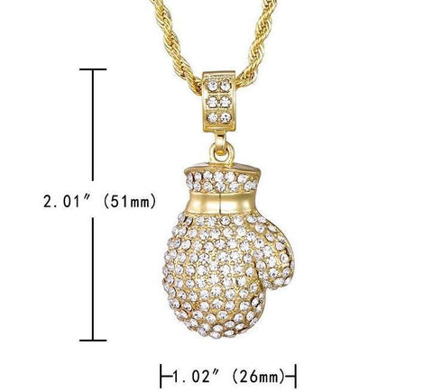 Image of Boxing Glove Pendant CZ Iced Out Hiphop Necklace (Free)
