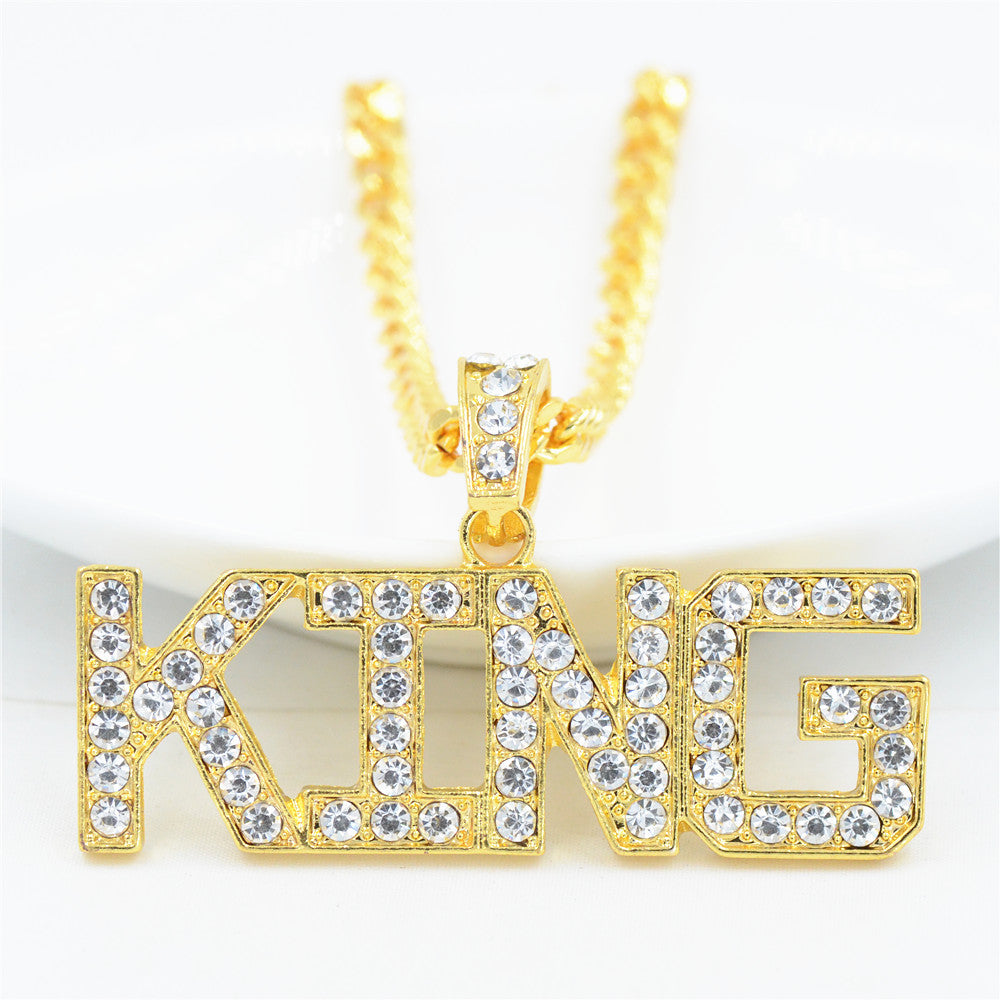 Rhinestone King Pendants Necklaces Cuban Link Chain
