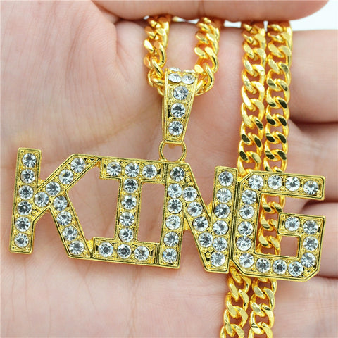 Image of Rhinestone King Pendants Necklaces Cuban Link Chain