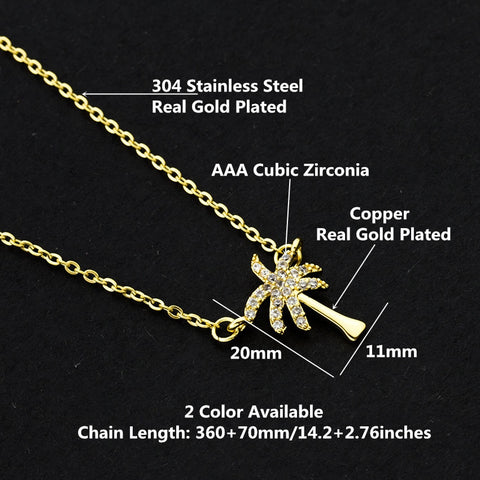 Summer Beach Jewelry CZ Palm Tree Pendant Necklace
