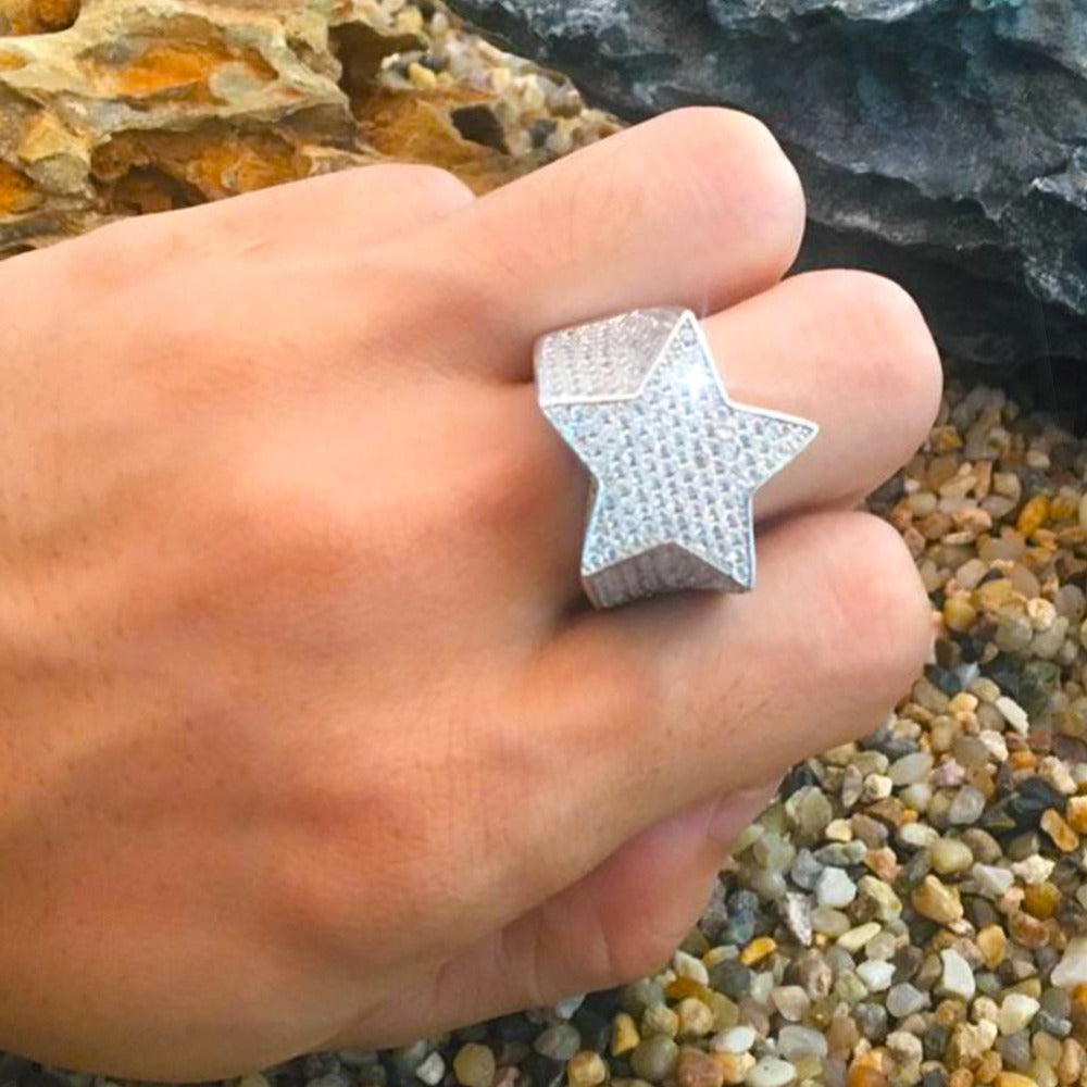 Five Point Star Micro Paved CZ Ring