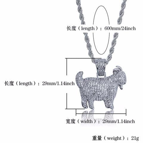Image of Zircon Bling Ice Out Goat Sheep Pendant Necklaces Jewelry