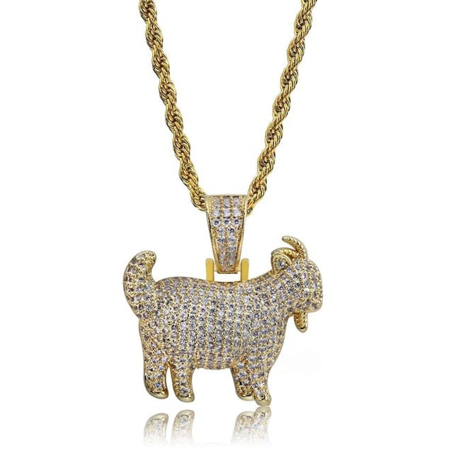 Zircon Bling Ice Out Goat Sheep Pendant Necklaces Jewelry