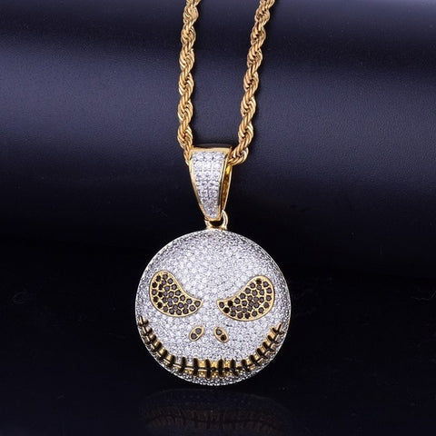 Image of Character Emoji Face Pendant With Cuban Chain