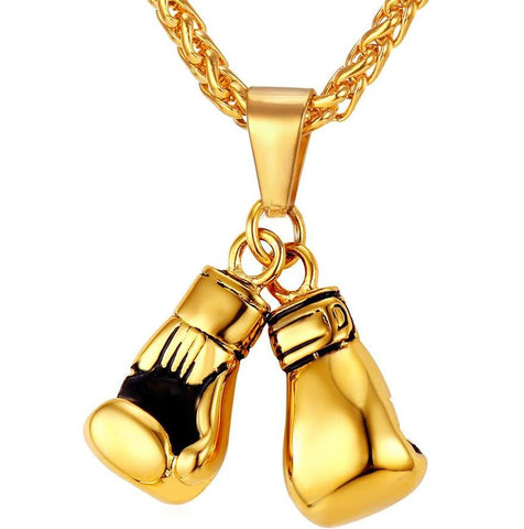 Image of Gold Plated Boxing Gloves Pair Pendant Necklace