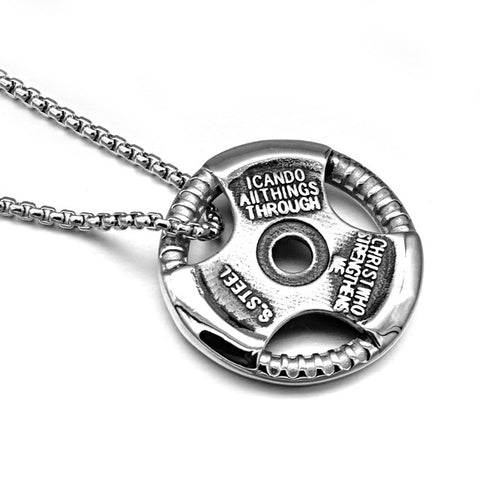 Image of Barbell Sheet Pendant with Link Chain