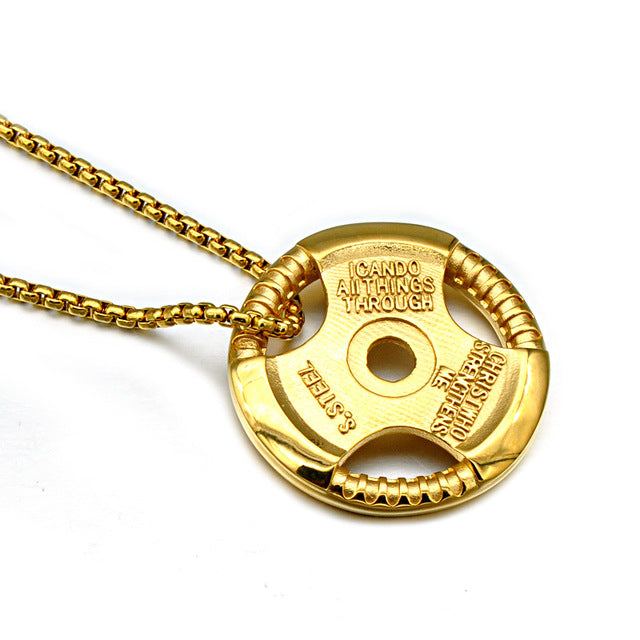 Barbell Sheet Pendant with Link Chain