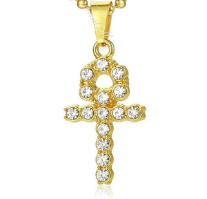 Iced Out Ankh Key Cross Pendant Necklace (Free)