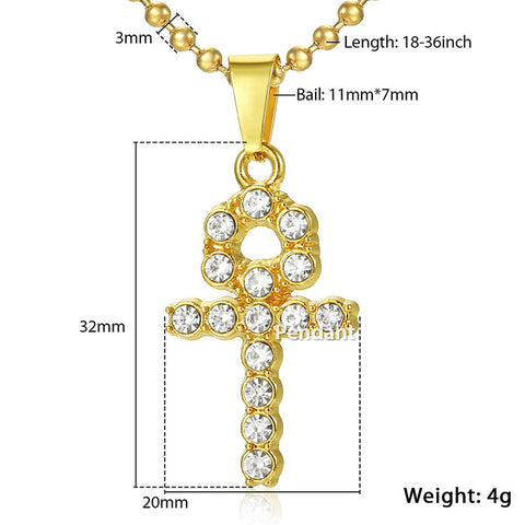 Image of Iced Out Ankh Key Cross Pendant Necklace (Free)