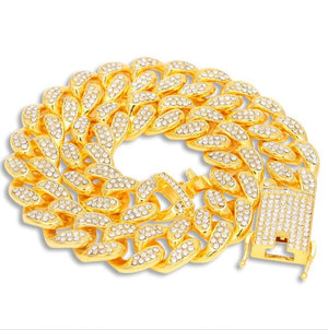 AAA Iced Out Rhinestones Necklace 20mm Heavy Miami Cuban Link Chain