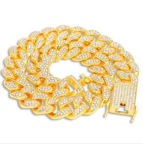 Image of AAA Iced Out Rhinestones Necklace 20mm Heavy Miami Cuban Link Chain