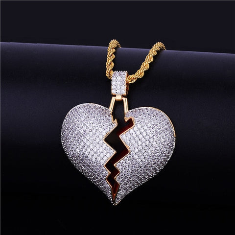 Image of Iced Out Broken Heart Pendant With Tennis Chain