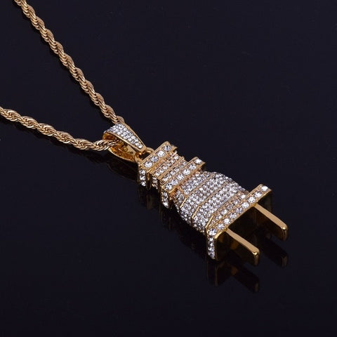 Image of Men's Iced Out Plug Pendant Necklace