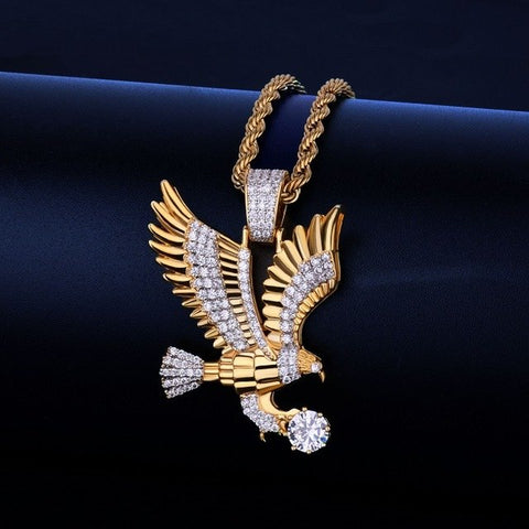 Image of Eagle Iced Out Pendant with Link Chain