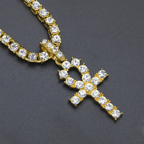 Image of Punk Style Egyptian Ankh Key Pendant Zirconia Gold Necklace