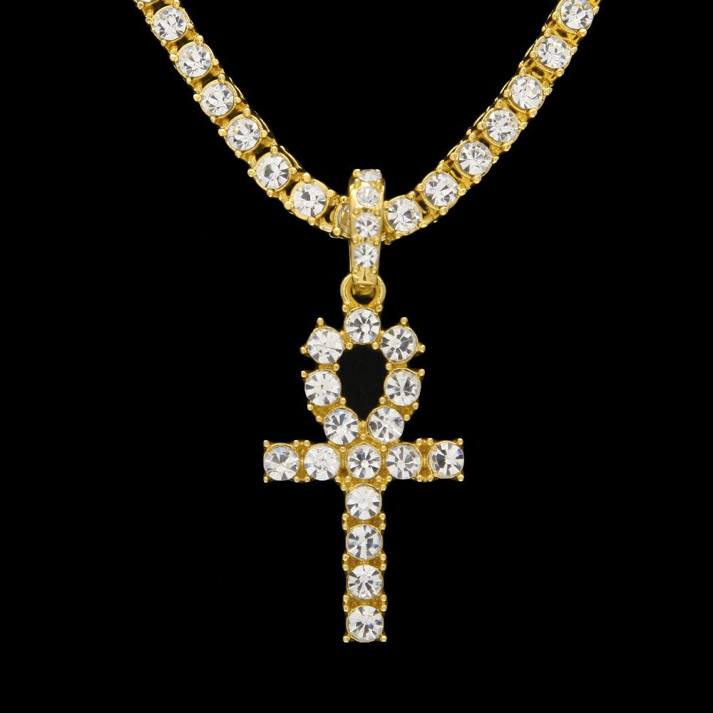 Punk Style Egyptian Ankh Key Pendant Zirconia Gold Necklace