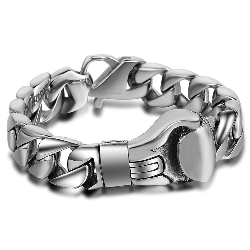 Hiphop Smooth Curb Link Chain Boxing Glove Bracelet