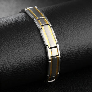 Hiphop Healthy Magnetic Bracelet Groove Two Tone Link Chain