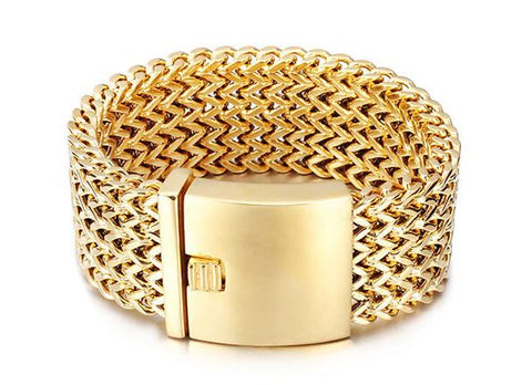 Image of Stainless Steel gold color Men bracelets Franco Link chain