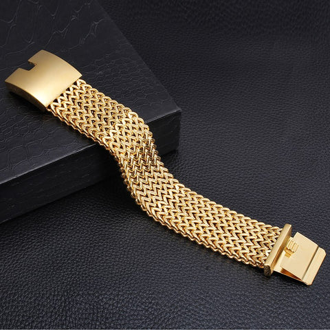 Stainless Steel gold color Men bracelets Franco Link chain