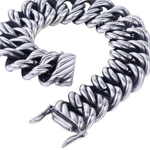 Image of Big Curb Link Chain Wristband Bracelet