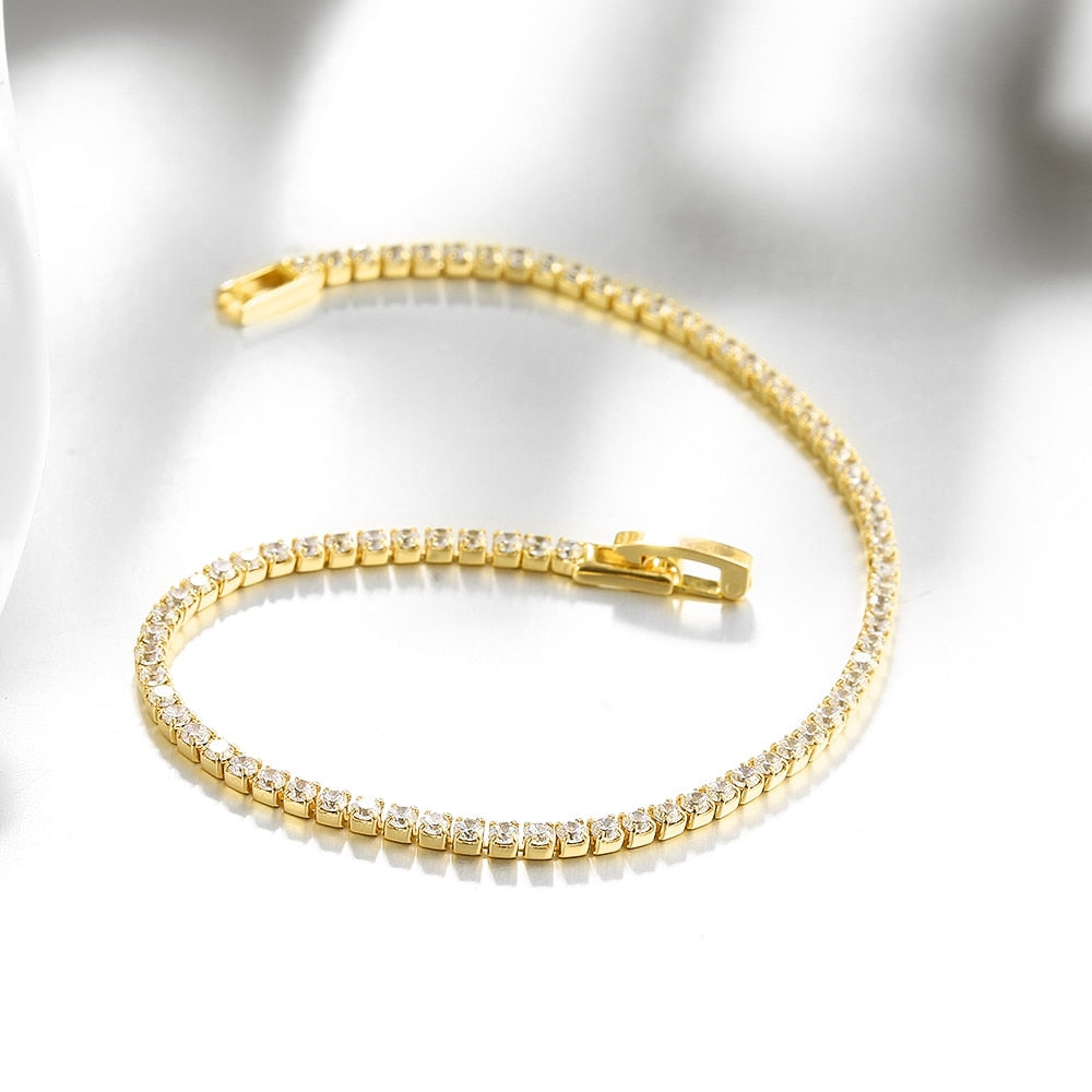 Gold Iced Out 1 Row Rhinestones Men Bracelet (Free)